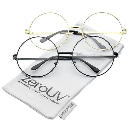 d0e6db3417 Oversize Metal Frame Slim Temple Clear Lens Round Eyeglasses 60mm
