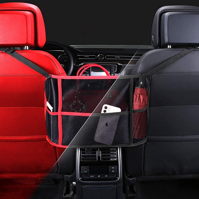Car Seat Storage Net Bag Between Car Seats Black Barrier of Backseat Pet Kids CoutureBridal Car Net Pocket Handbag Holder Car Seat Back Organizer Bag for Purse /& Pocket Smaller Items