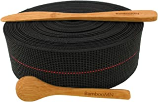 BambooMN Brand - Two-Inch Latex Elasbelt Webbing for Chair Repair - 40' Roll - Includes Bamboo Spice Spoon and Bamboo Spreader