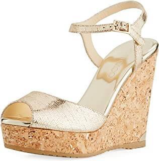 Perla Metallic Platform Wedge Sandals 40.5
