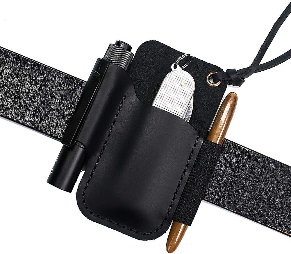 EDC-Werkzeug EASYANT Handgefertigte Lederscheide f/ür Klappmesser schwarz Taschenlampen-Organizer