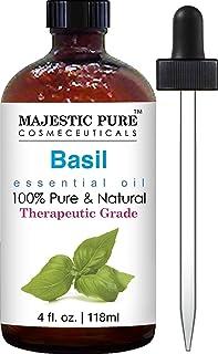 Majestic Pure Basil Oil, Therapeutic Grade, Pure and Natural Basil Essential Oil, 4 fl. oz.