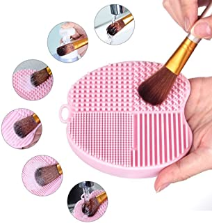 MelodySusie Makeup Brush Cleaner Silicone Brush Cleaning Mat Cosmetic Brush Cleaner Pad Portable Washing Tool Scrubber with Suction Cup - Apple Shape