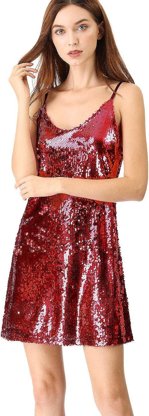 Allegra K Women's Glitter Sparkle Adjustable Strap Mini Party Sequin Dress