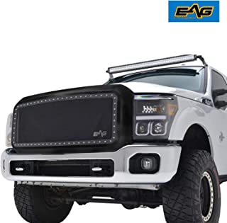 EAG Front Rivet Matte Black Stainless Steel Wire Mesh Grill With Shell Fit for 2011-2016 Ford Super Duty F250/F350/F450/F550