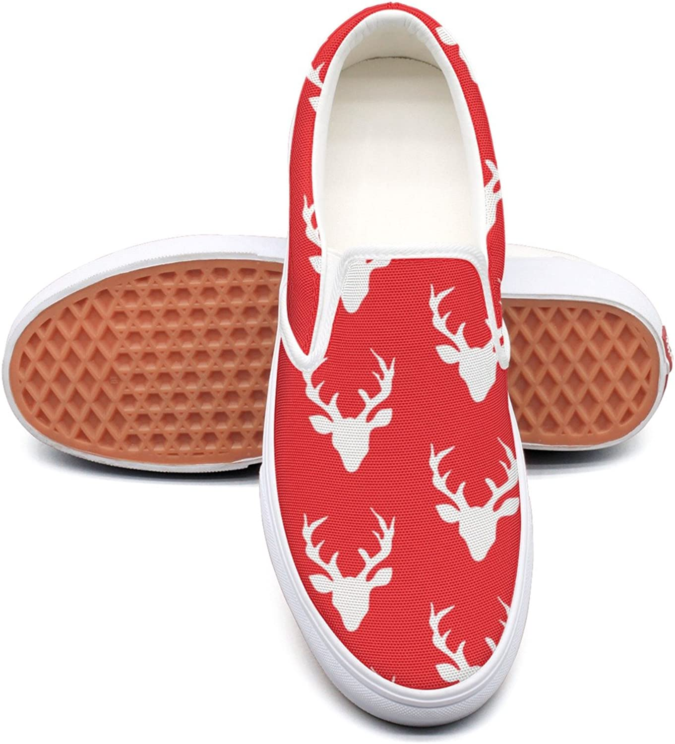 Red Christmas Deer Moose Womens Navy Canvas Sneakers Low Top Fashion Sneakers For Women's
