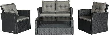 Magari Furniture MAG-1601S2 4 Piece Complete Outdoor Rattan Patio Pool Garden Set, 4 Seater, Black