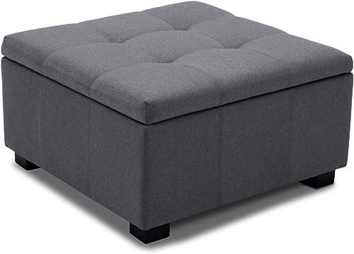 lowest BELLEZE Upholstered outlet sale Modern Style Indoor Living Room Bedroom Storage Tufted Ottoman wholesale Squared Foot Bench, Grey online sale
