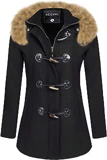ACEVOG Women's Wool Coat Fur Trim Hooded Parka Jacket Coat Outwear