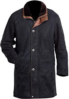"""Longmire Suede Coat - Walt Sheriff Long Trench Suede Leather Coat - Brown Leather Coats for Men (L/Body Chest 42"""" to 44"""")"""