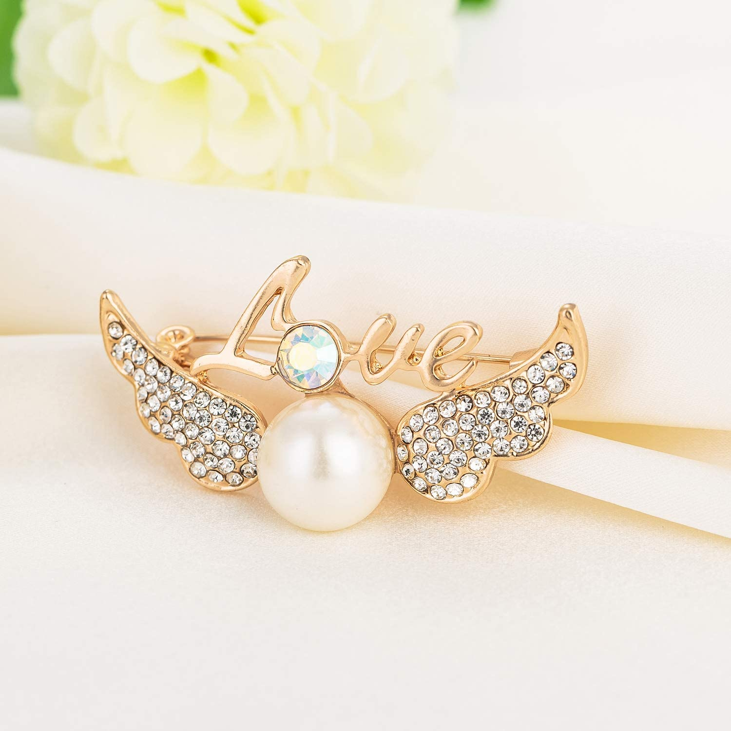 Aimelo Angel Wings with love Brooch Pin for Women Girls
