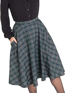 Hell Bunny Peebles Vintage Inspired Tartan Plaid High Waist 50's Swing Skirt