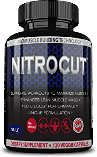 Nitrocut Pre Workout Supplement -120 Capsules - Nitric Oxide Supplements - l arginine - l citrulline - Premium Ingredients - Increase Blood Flow - Boost Muscle Growth
