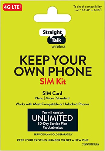 Straight Talk Bring Your Own Phone Universal SIM Card Pack - Verizon, AT&T, T-Mobile, Tri-Punch Bundle Kit