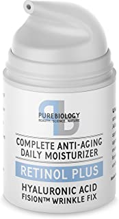 Pure Biology Retinol Cream + Face Moisturizer with Hyaluronic Acid, Vitamins A, B + E & Breakthrough Anti-Aging, Anti-Wrinkle Complex – Face & Eye Skin Care for Men & Women, All Skin Types