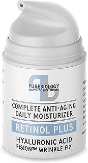 Pure Biology Retinol Moisturizer Cream with Hyaluronic Acid, Vitamins B5, E & Breakthrough Anti Aging, Anti Wrinkle Complex – Face & Eye Skin Care for Men & Women, All Skin Types, 1.7 OZ