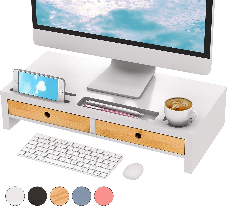 Monitor Riser Stand Desk Shelf - with Drawer Keyboard Storage Stylish White 22