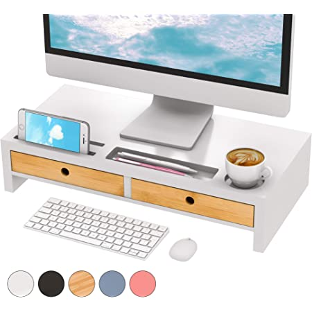 Monitor Stand Riser Computer Laptop Riser Shelf with 2 Organizer Drawers 26L x 8W x 7H Blue