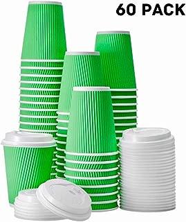 FarSmart Hot Paper Ripple Wall Coffee Cups With Lids (Green, 12 oz)
