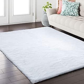 Alansma Faux Rabbit Fur Area Rug Shaggy Wool Carpet for Bedroom Living Room Home Decor (4ft x 5ft Rectangle, White)