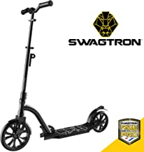 Swagtron Commuter Kick Scooter for Adults, Teens | Foldable, Lightweight w/ABEC-9 Wheel Bearings | Height-Adjustable, 220LB Max Load