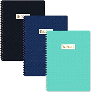 A4 Notebooks/Notepads - 3 Pack Lined A4 Notebook Journal with Margin, Premium Paper, Wirebound, 29.6 X 23 cm, Soft Ring, E...