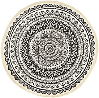 GEVES Black Mandala Rug Round Weave Area Rugs Tassels Door Floral Floor Mat Indoor or Outdoor Use Carpet for Living Room Non-Slip Machine Washable Stain Resistant Easy to Clean