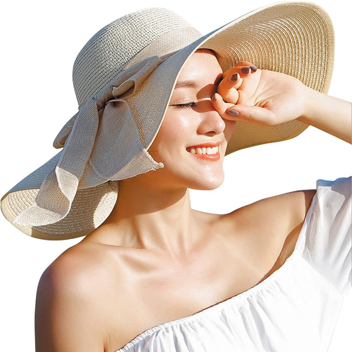Lanzom Womens 5.5 Inches Big Bowknot Straw Hat Large Floppy Foldable Roll up Beach Cap Sun Hat UPF 50+
