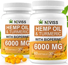 (2 Pack) Hemp Oil Capsules with Turmeric & Bioperine - Pure Hemp Oil 6000 MG for Pain Relief, Stress & Anxiety Relief, Sleep Support - Organic Hemp Capsules Softgels - 60 Capsules