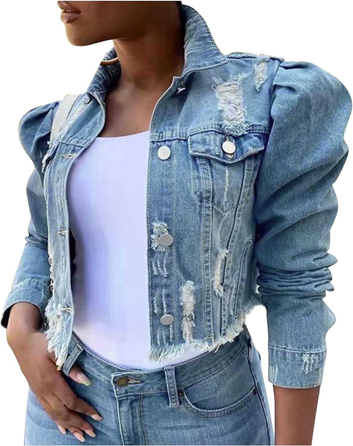 Xinantime Women's Jean Jacket Distressed Washed Coat Button Down Long Sleeve Classic Denim Jacket with Pockets