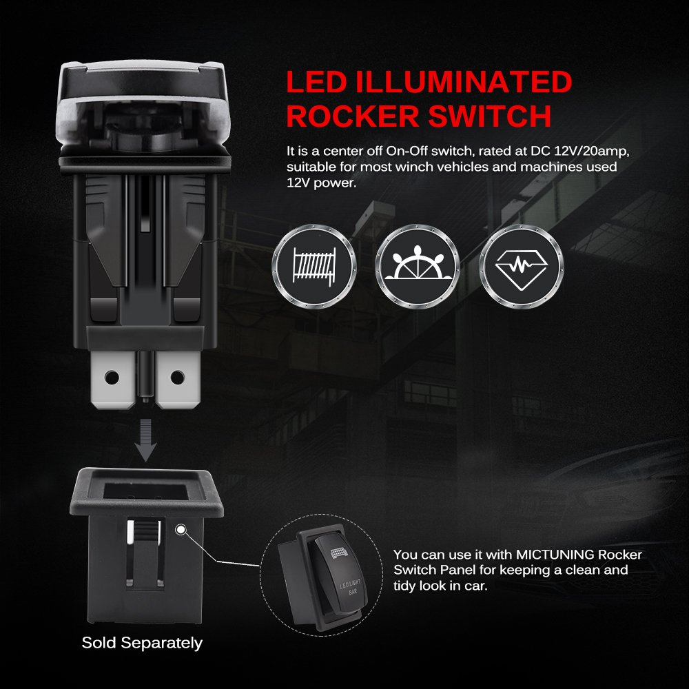 MICTUNING LS09901 7 Pin Momentary Laser Rocker Switch Winch in/Out, 20 Amp/12V, Black