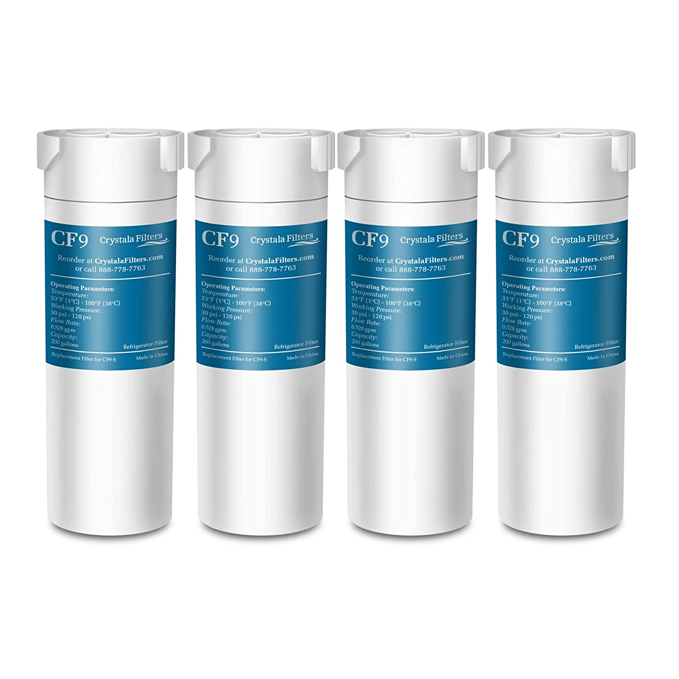 Crystala Filters Compatible with GE XWF Water Filter, Replacement for GE SmartWater Refrigerator Water Filter, (4 PACK)
