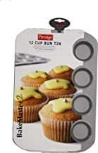 Prestige BakeMaster 2 Single Non-stick Bun Tray 12 Cup, 57128, Grey, Round, Aluminium