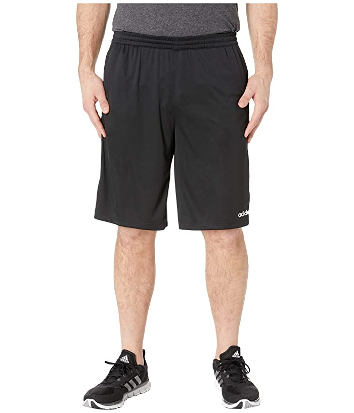 adidas Big Tall D2M 3-Stripe Shorts (Black/White) Men