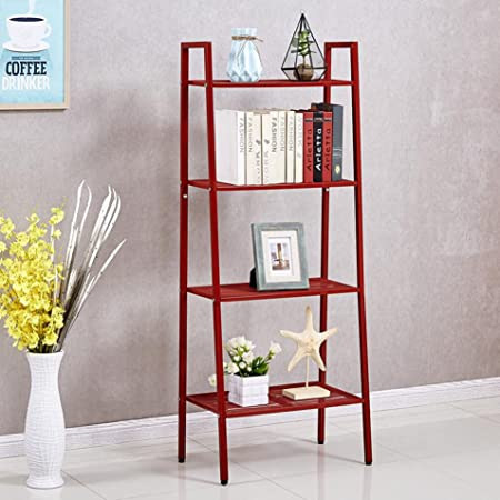 House of Quirk Ladder Shelf 4-Tier Bookshelf Plant Flower Stand Storage Rack Organizer Modern Shelves Shelving Bookcase Iron Stable Metal Frame Furniture Home for Living Room (Red(148x60x35cm)