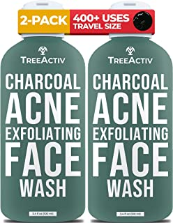 TreeActiv Charcoal Acne Exfoliating Face Wash   Sulfur Cleanser for Pimple, Zit, Whitehead, Blackhead, Hormonal, & Cystic ...