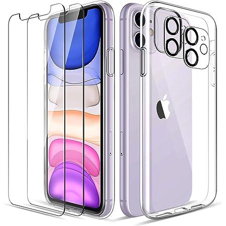 LK Coque Compatible avec iPhone 11 6.1 Pouces, 4 Pièces - 2 Verre Trempé Protection écran & 2 Caméra Arrière Protecteur, Souple Silicone TPU, Shock-Absorption Housse de Protection- Transparent