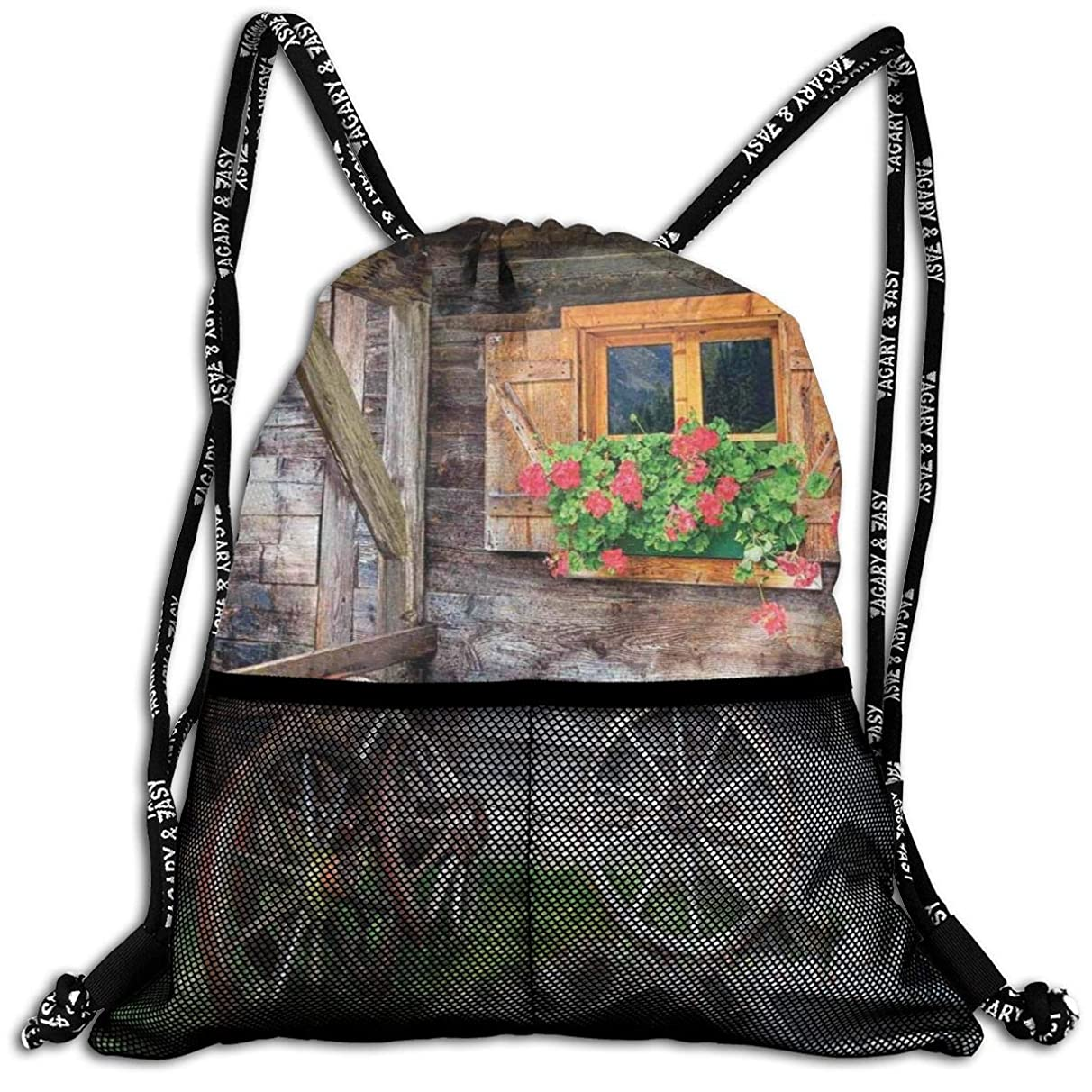 Drawstring Backpacks Bags,Weathered Window With Flowers In Pot Wheels Farmhouse Rural Scene Front View,5 Liter Capacity,Adjustable