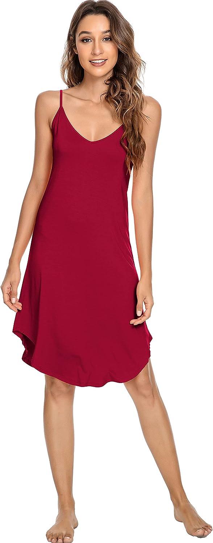 YOSOFT Women's Bamboo Chemise Nightgown Soft Full Slips Dress Spaghetti Straps Sleepwear Plus Size Loungewear S-4X