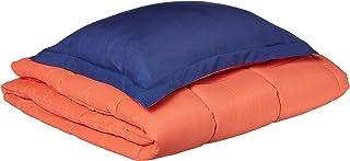 My World LHK-COMFORTERSET Reversible 3 Piece Twin XL Comforter Set, Twin/Twin, Navy/Orange