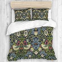 COVASA Duvet Cover Set, Strawberry Thief Indigo Vintage Art by William Morris, Decorative 3 Piece Bedding Set with 2 Pillow Shams
