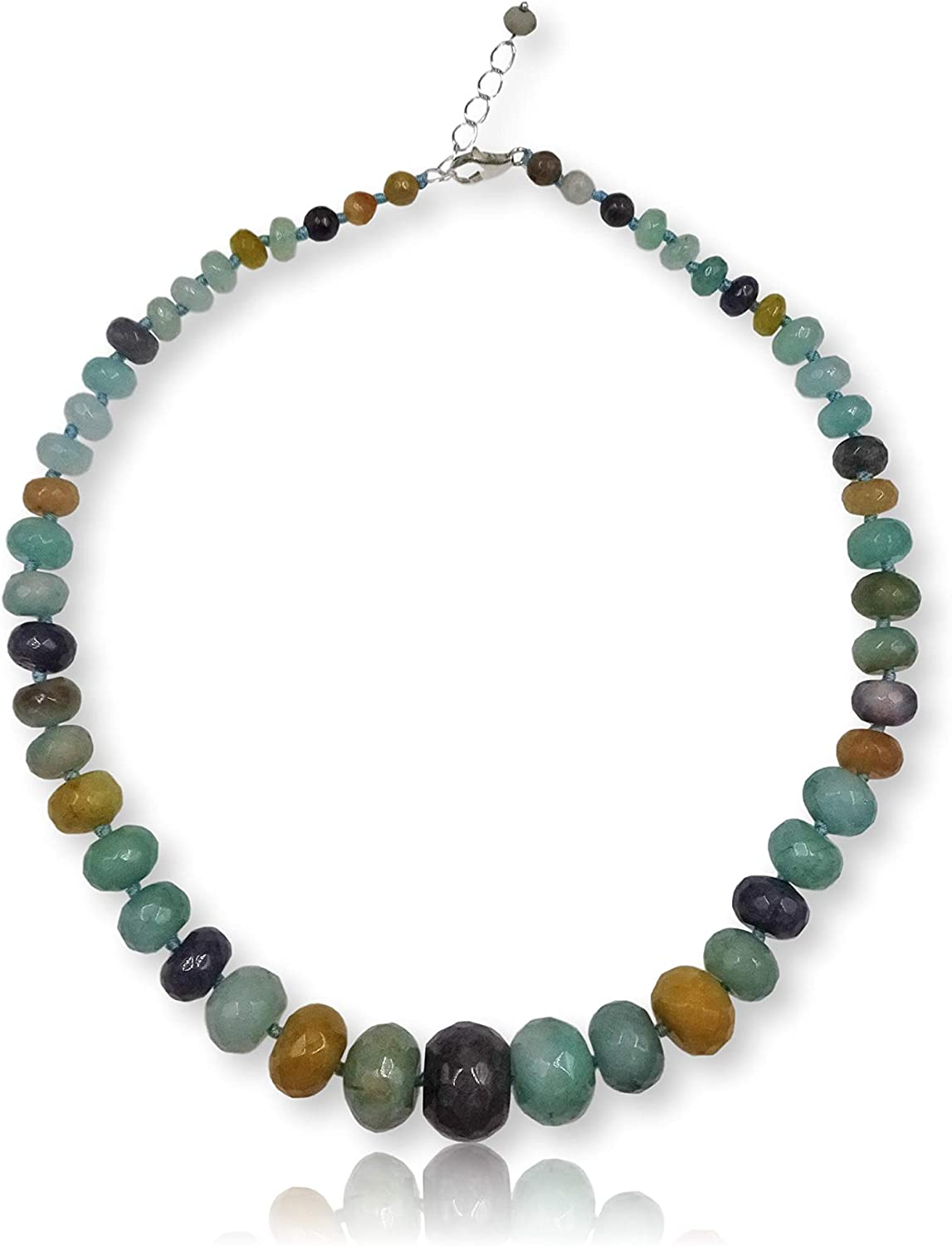 MGR MY GEMS ROCK! Genuine Amazonite Rondelle-Shape Beaded Collar Style Statement Strand Collar Necklace for Women