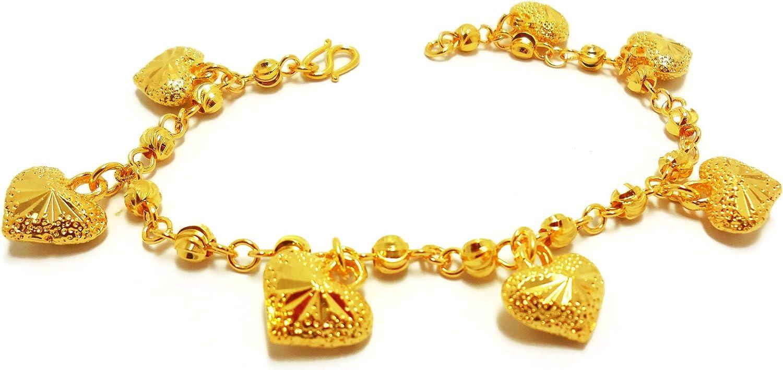 Lovely Hearts 23K 24K THAI BAHT YELLOW GOLD Plated Charm Bracelet 7.5 inch Jewelry Girl Women