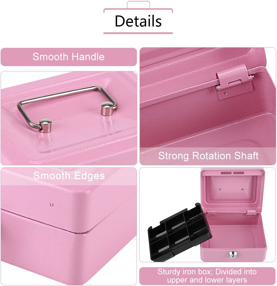 Small Cash Box with Key Lock Portable Double Layer Steel Lockable Coin Money Storage Security Box Pink
