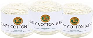 (3 Pack) Lion Brand Yarn Comfy Cotton Blend Yarn, Whipped Cream