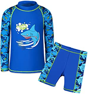 TFJH Kids Boys UPF 50+ UV Sun Protective Long Sleeve Two Piece Swimsuit (9-10Years(Tag.No.10A), Navy)