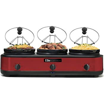 Copperwith MegaChef MC-1103 Round Triple 1.5 Quart Slow Cooker and Buffet Server in Brushed Copper and Black Finish with 3 Ceramic Cooking Pots and Removable Lid Rests