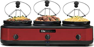 Elite Platinum EWMST-325R Triple Slow Cooker Buffet Server, Warmer, Adjustable Temp Dishwasher-Safe Oval Ceramic Pots, Lid Rests, 3 x 2.5Qt Capacity, Red