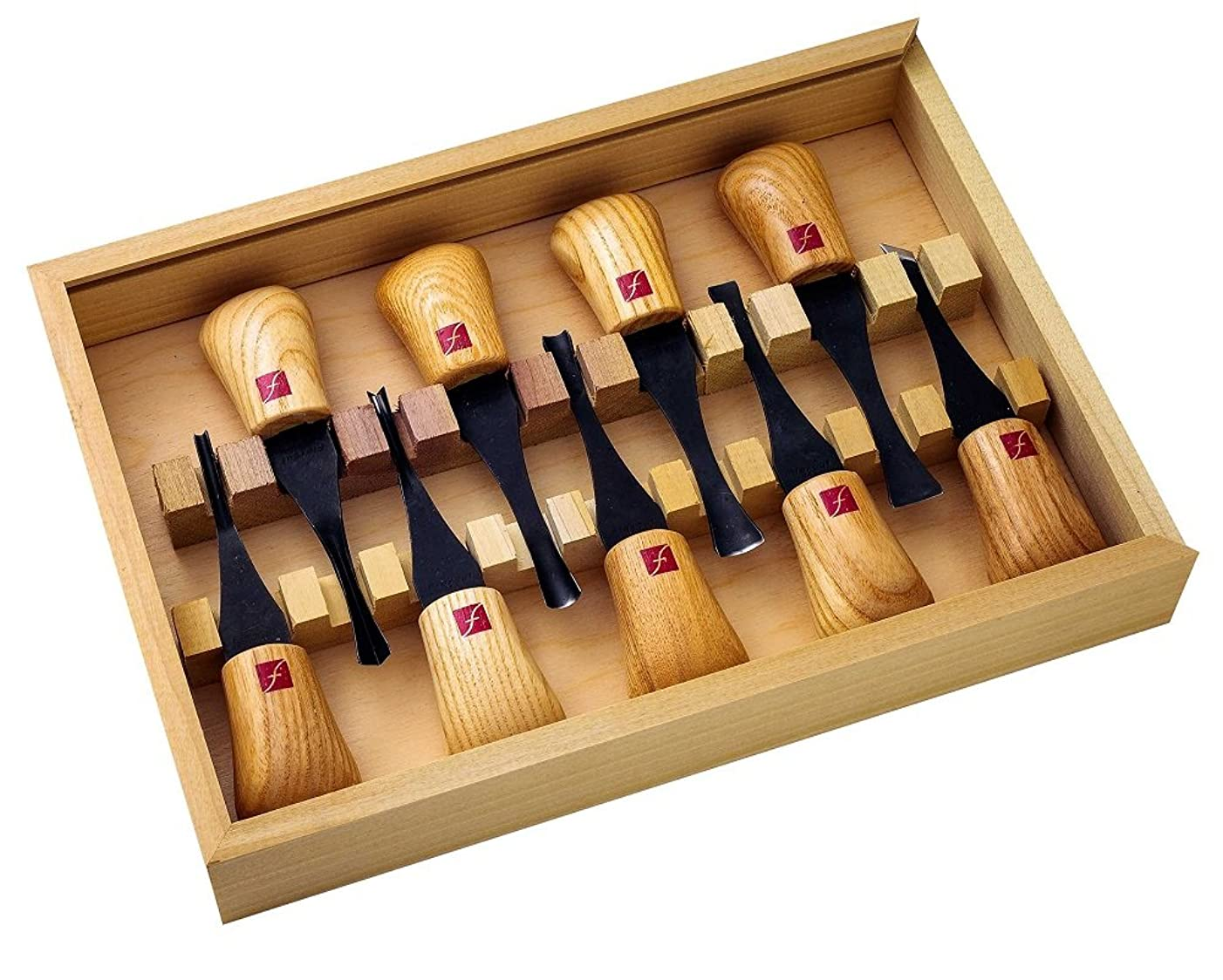 Flexcut Carving Tools, Deluxe Palm Gouges, Ash Hardwood Handles and Carbon Steel Blades, Set of 9 (FR405)