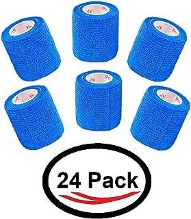 2 Inch Vet Wrap Tape Self Adhesive Medical Bandage Free Bonus Rolls (Blue) (22 Pack Plus 2 Free Rolls) Self Adherent Cohesive First Aid Sport Flex Wrist Ankle Knee Sprains and Swelling